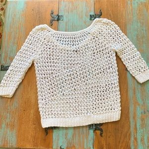 Theory Scoop Neck Crochet Style Pullover Sweater